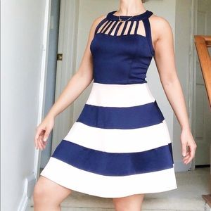 Navy Blue and Pastel Pink Dress, Size Small